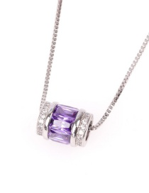 Fashion Purple Micro-inlaid Zircon Macroporous Stainless Steel Clavicle Chain