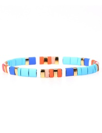 Fashion Blue Painted Mix And Match Candy-woven Stretch Bracelet