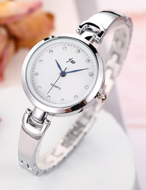 Fashion Silver + White Diamond Bracelet Stainless Steel Band Quartz Bracelet Watch