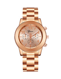 Fashion Rose Gold Three Eyes Steel Band Quartz Watch