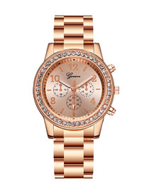 Fashion Rose Gold Quartz Watch With Diamonds And Three Eyes
