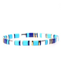 Fashion Royal Blue Beaded Lacquered Candy Contrast Hand-woven Stretch Bracelet