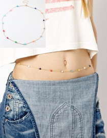 Fashion Golden Color Ball Contrast Alloy Waist Chain