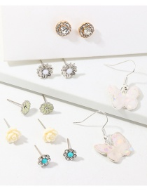 Fashion Color Resin Butterfly Flower Stud Earring Set
