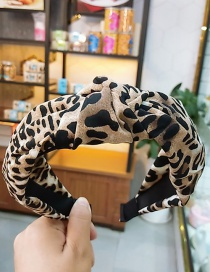 Fashion Dark Brown Leopard Fabric Knotted Non-slip Wide-edge Hair Hoop