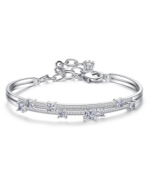 Fashion Platinum White Gold Plated Brass Bracelet With Diamonds