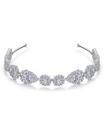 Fashion Platinum Geometric Hollow Headband With Diamonds