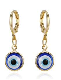 Fashion Blue Gold Powder Eye Round Resin Alloy Earrings