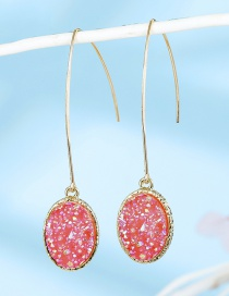 Fashion Oval Powder Ice Slag Imitation Natural Stone Drop-shaped Crystal Bud Resin Earrings
