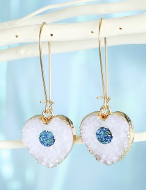 Fashion White Love Small Resin Imitation Natural Stone Love Alloy Earrings