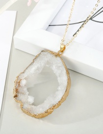 Fashion White Crystal Hollow Natural Stone Irregular Necklace