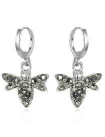 Fashion Silver Bee Alloy Earrings With Diamonds