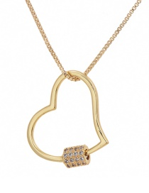 Fashion Golden Cubic Zirconia Love Necklace