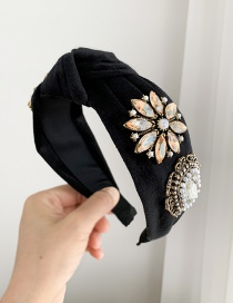 Fashion Black Fabric Band With Gold Diamond Pearl Flower Headband