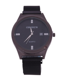 Fashion Gun Black Quartz Watch With Diamonds And Magnets In Milan