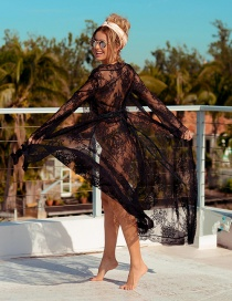 Fashion Black Wave Lace Sunblock Cardigan Dress