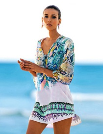 Fashion Blue-green Snake-print Chiffon V-neck Blouse