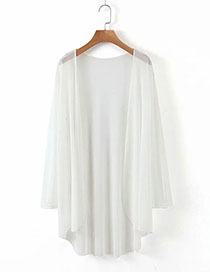 Fashion White Mesh Cardigan Mid-length Coat