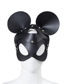 Fashion Black Rhinestone Mickey Leather Rhinestone Inlay Mask