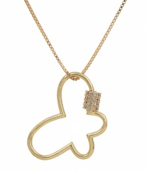 Fashion Golden Cubic Zirconia Butterfly Necklace