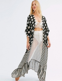 Fashion Black And White Plaid Striped Loose Long Cardigan Sun Cover