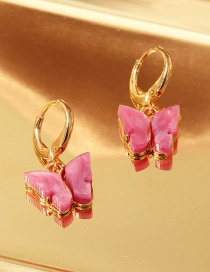 Fashion Red Acrylic Butterfly Alloy Earrings
