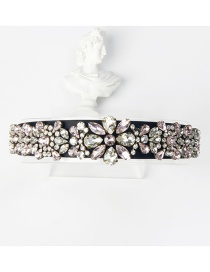 Fashion White + Pink Copper Claw Studded Wide Flower Hoop With Diamonds