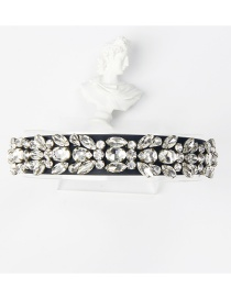 Fashion White Bronze Claw Studded Drop-shaped Wide Edge Hair Band