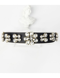 Fashion Black Copper Claw Studded Wide Flower Hoop With Diamonds