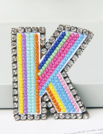 Fashion K Color Brooch With Embroidered Letters And Diamonds