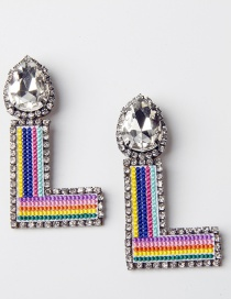 Fashion L Color Embroidered Drop Earrings With Diamonds And Letters