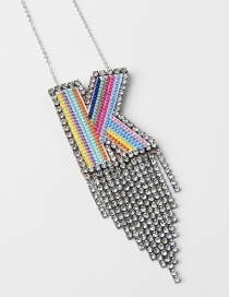 Fashion K Color Alphabet Mixed Color Embroidered Diamond And Fringe Necklace