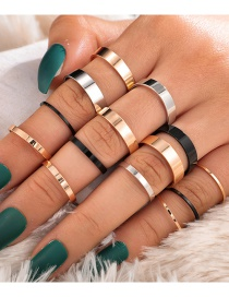 Fashion Color Mixing Alloy Contrast Thickness Ring Set