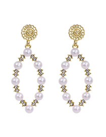 Fashion Golden Diamond Oval Stud Earrings With Diamonds