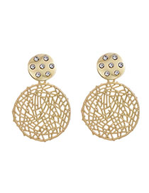 Fashion Golden Alloy Studded Round Stud Earrings