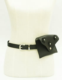 Fashion Black Pu Leather Flower Belt Buckle Belt Bag