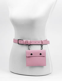 Fashion Dark Pink Multifunctional Faux Leather Geometric Belt Belt Bag
