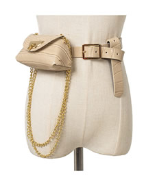 Fashion Beige Chain Lock Stone Belt Belt Bag