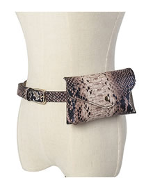 Fashion Snake Coffee Chain Snake-effect Contrast Flap Belt Belt Bag