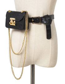 Fashion Trumpet Black Snakeskin Chain Lock Single Shoulder Diagonal Belt Belt Bag