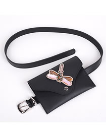 Fashion Dragonfly Pin Buckle Pu Leather Embroidered Diamond Sequin Dragonfly Belt Belt Bag
