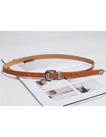 Fashion Camel Knotted Thin-edged Belt With Dress