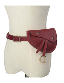 Fashion Wine Red Belt Buckle Geometric Flap Belt Belt Bag
