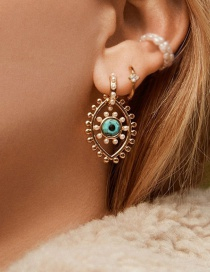 Fashion Golden Gold-plated Bead Eye Pearl Earrings