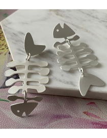Fashion Silver Fishbone Titanium Steel Cutout Earrings