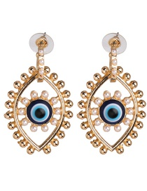 Fashion Blue Dripping Eye Pearl Alloy Pierced Earrings