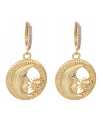 Fashion Golden Cubic Zirconia Crescent Earrings