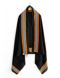 Fashion Black Contrast Vertical Stripes Printed Scarf On Both Sides