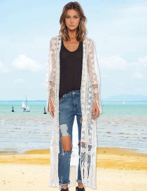 Fashion White Lace Embroidered Fringed Cardigan