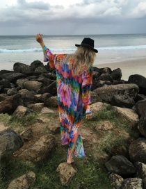 Fashion Color Chiffon Color Feather Long Coat